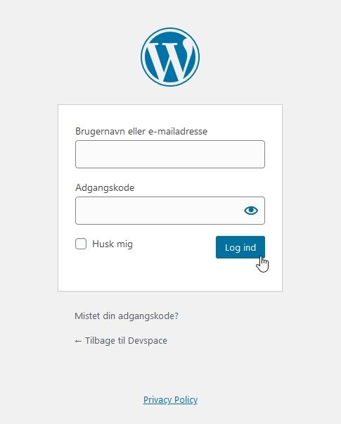 husk-min-hjemmeside-log ind i wordpress