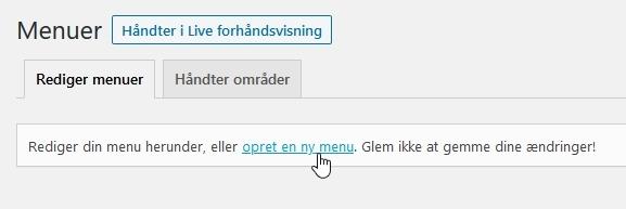 husk-min-hjemmeside-opret ny menu i wordpress